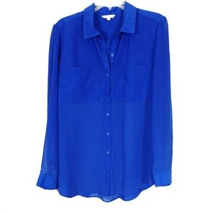 Candie's Royal Blue Satin & Sheer Button Up Blouse